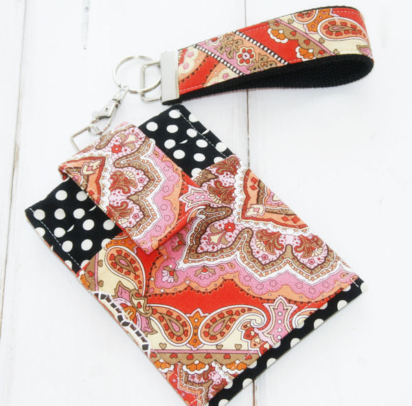 Phone Case For Any Brand Phone ~in Pretty Paisley and Polka Dots ~With Lanyard and Key Fob Options - Oh! Koey