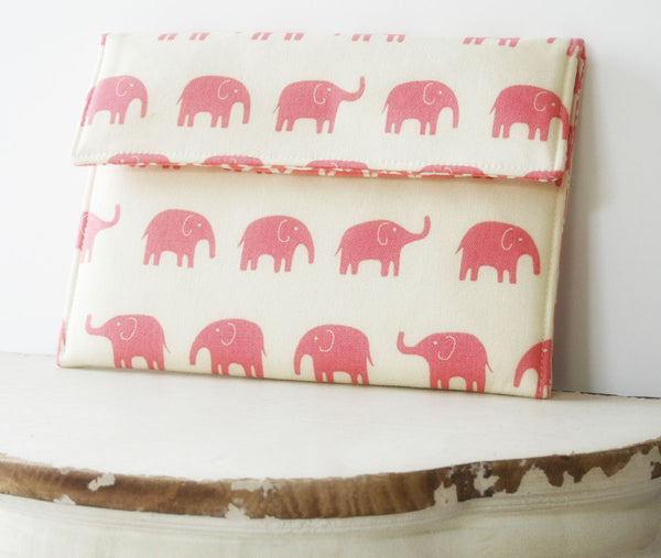Kindle Sleeve| iPad Case|Tablet Case|Laptop Case|Macbook Case in Pretty Pink Elephants - Oh! Koey