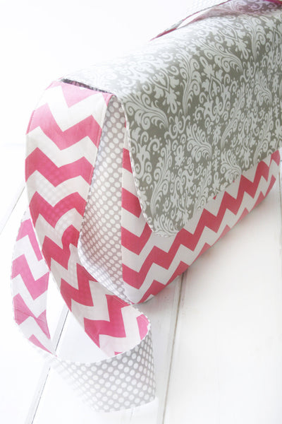 Mary Messenger Weekender/Diaper/Overnight Bag in Pink Chevron and Grey Damask - Oh! Koey