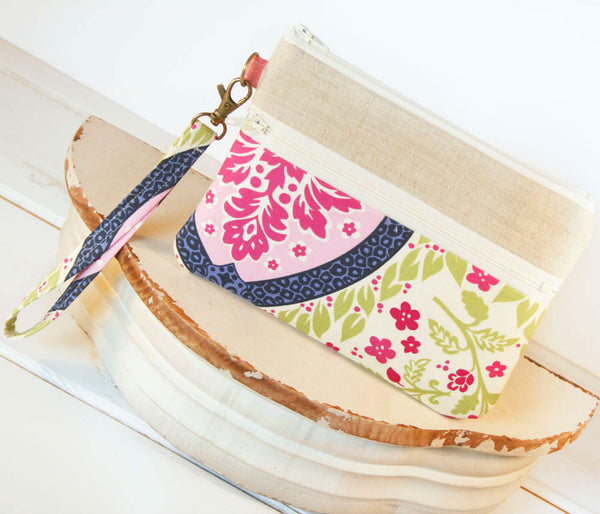 Lavender and Linen Cell Phone Wristlet ~ Zipper Pouch Clutch for iPhones, Samsung and all brands - Oh! Koey