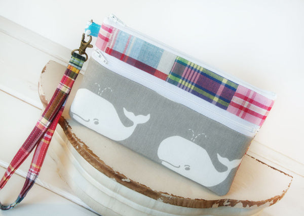 Cell Phone Wristlet ~ Zipper Pouch Clutch for iPhones, Samsung and all brands in Preppy Patches & Whales - Oh! Koey