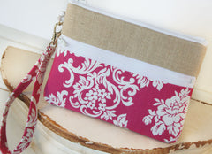 iPhone/Samsung Clutch Wristlet ~ Zipper Pouch Clutch in Catherine and Linen - Oh! Koey