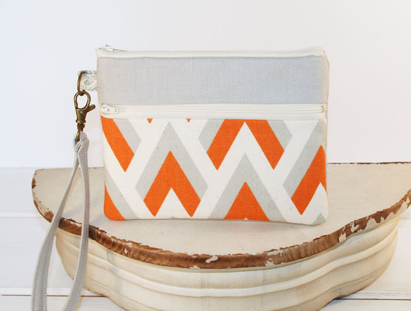 iPhone/Samsung Cell Phone Clutch Wristlet ~ Zipper Pouch Clutch in Orange Sherbet Chevron and Linen - Oh! Koey