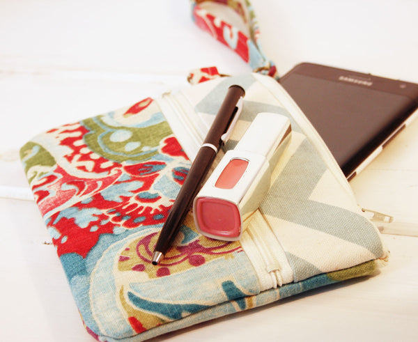 iPhone/Samsung Cell Phone Clutch Wristlet ~ Zipper Pouch Clutch in Garden Path and Linen - Oh! Koey