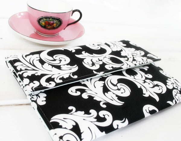 iPad/Tablet, Kindle/Ereader or Macbook/Laptop Case in Elegant Black and White Damask - Oh! Koey
