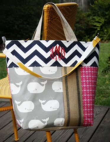 Whales and Anchors and Chevron, OH MY!   Beach Tote, All Day Bag, Diaper Bag or Tennis Tote - Oh! Koey