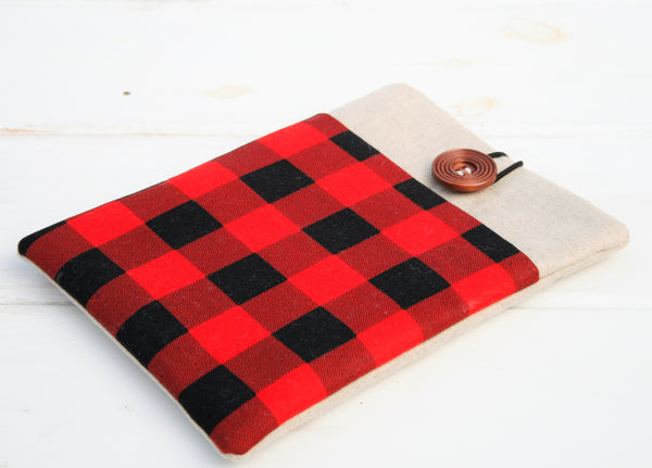 Hipster Red and Black Buffalo Check Plaid iPad Case, Tablet Case, Macbook, Lenovo, HP and Laptop Case