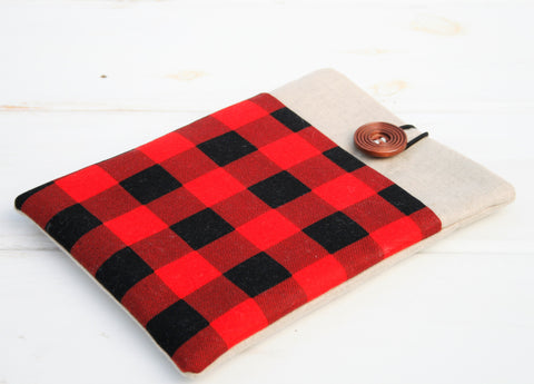 Hipster Red and Black Buffalo Check Plaid iPad Case, Tablet Case, Macbook, Lenovo, HP and Laptop Case - Oh! Koey