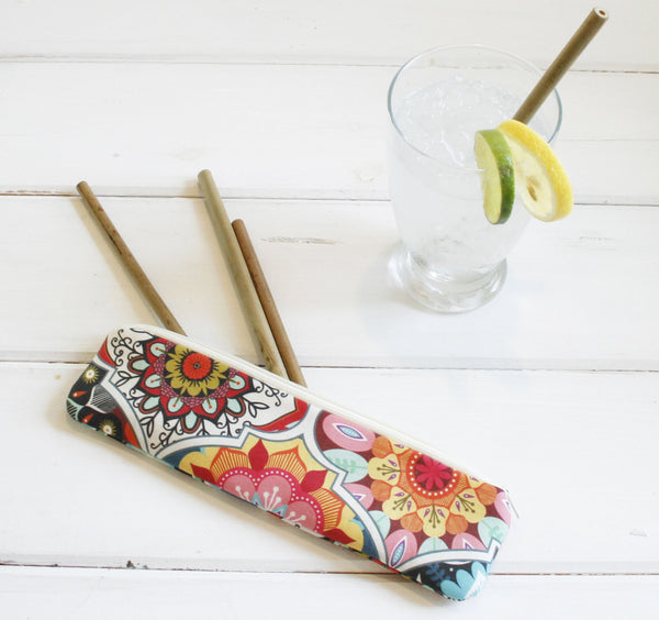 Reusable Straw Pouch in Boho Love, Personalized Eco Friendly Reusable Straw Case, Bag for Straws, Personalized Straw Pouch - Oh! Koey