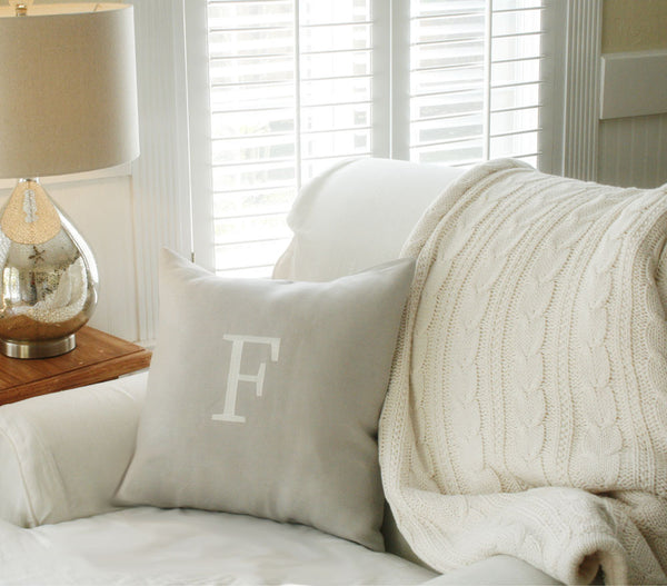 Natural Linen Monogram Pillow Cover - Oh! Koey