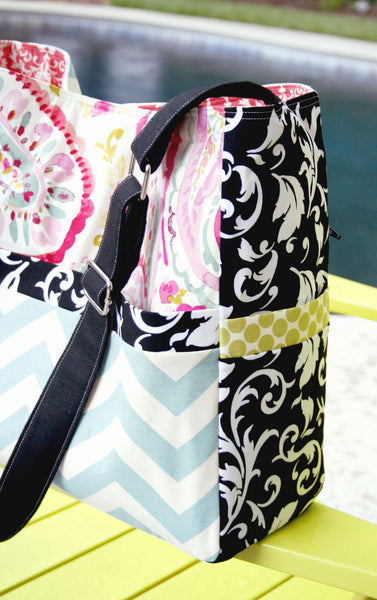 Emma Chevron, Paisley and Damask Diaper XL Tote Bag - Oh! Koey