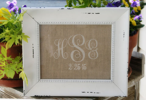 Monogrammed Framed Linen Birth Announcement, Wedding or Special Occasion Dates Heirloom Gift - Oh! Koey