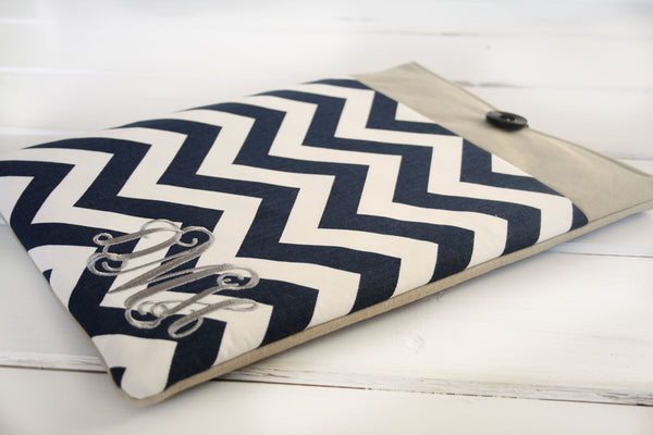 Monogrammed Navy Blue Chevron and Linen iPad & Tablet Case or Macbook & Laptop Case - Oh! Koey