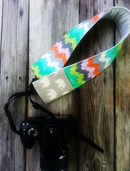 Watercolor and Elephants Padded Camera Strap Cover - Oh! Koey