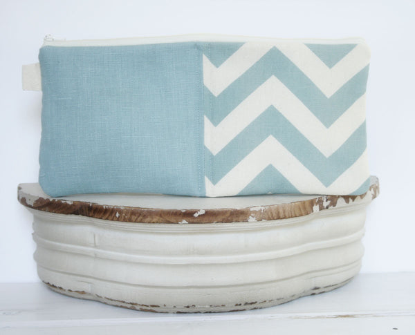 Monogrammed Blue Chevron and Linen iPad & Tablet Case or Macbook & Laptop Case - Oh! Koey
