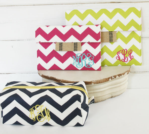 Hot Pink Chevron Monogrammed iPad Case, Tablet Sleeve, Kindle Case, Laptop Cover or Macbook Case - Oh! Koey