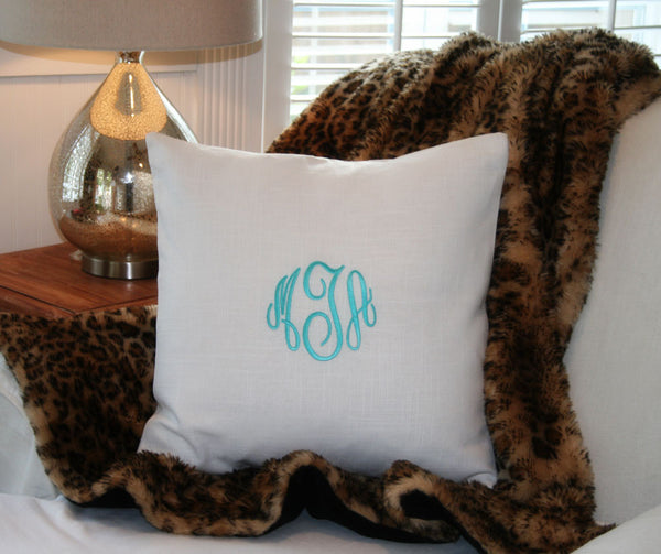 Ocean Blue Green Linen Monogram Pillow Cover - Oh! Koey