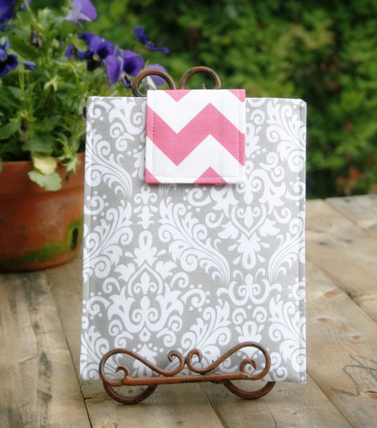 Grey Damask & Pink Chevron iPad & Tablet Case, Macbook & Laptop Case, Kindle & Ereader Case - Oh! Koey