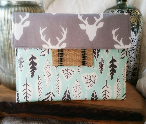 SAMPLE SALE Oh Deer iPad/Tablet Case with Grey Deer & Green Leaf Fabrics - Oh! Koey