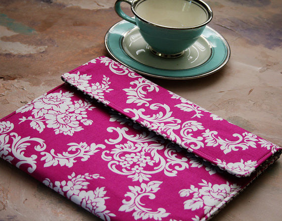 iPad/Tablet, Kindle/Ereader or Macbook/Laptop Case in Pink Damask - Oh! Koey