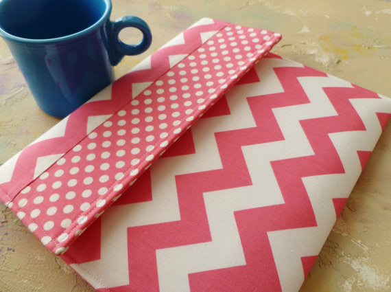 Pink Chevron and Polka Dots iPad/Tablet or Macbook/Laptop Case - Oh! Koey