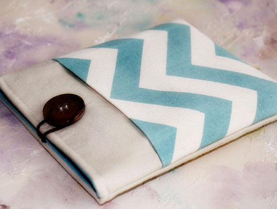 Blue Chevron and Linen iPad & Tablet Case or Macbook & Laptop Case - Oh! Koey