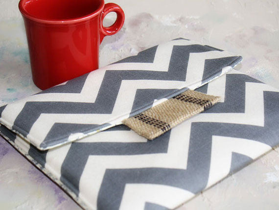Ipad Case|Tablet Case| Laptop Case| Macbook Case|Kindle Case|Ereader Case|Grey Chevron - Oh! Koey