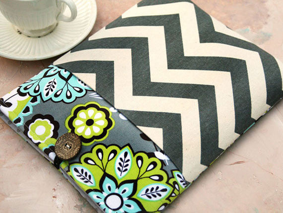 Mystic Night and Grey Chevron iPad & Tablet Case or Macbook & Laptop Case with Pocket - Oh! Koey