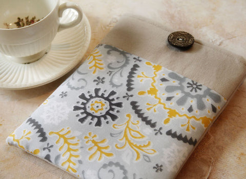 Grey and Yellow Medallion and Linen iPad & Tablet Case or Macbook & Laptop Case - Oh! Koey