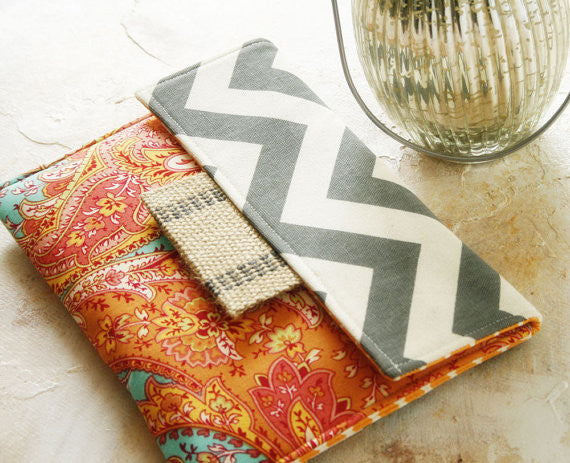 Tablet Sleeve | iPad Sleeve | Macbook Sleeve | Laptop Sleeve| Kindle & Ereader Sleeve in Mango Smoothie and Grey Chevron - Oh! Koey