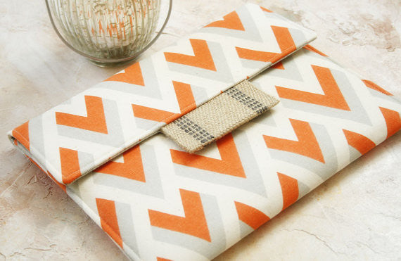 Orange Sherbert Chevron Tablet or Laptop Sleeve - Oh! Koey