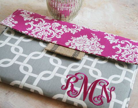Pink Damask & Grey Chains Monogrammed iPad Case|Tablet Case|Laptop Case|Macbook Case - Oh! Koey