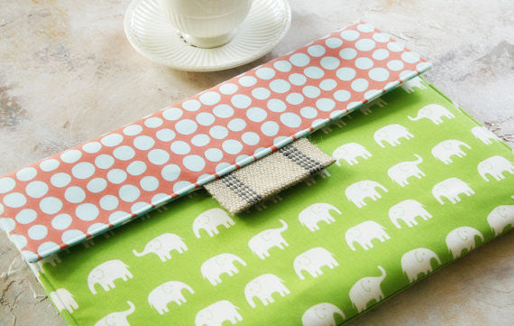 iPad/Tablet or Macbook/Laptop Case in Green Elephants & Polka Dots - Oh! Koey