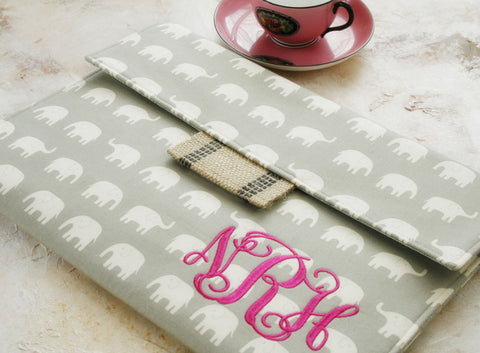 Monogrammed Elephant Tablet or Laptop Sleeve - Oh! Koey