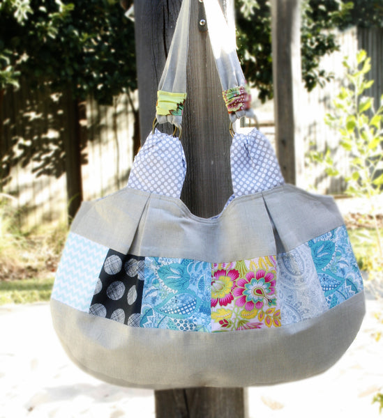 Olivia Linen and Patchwork Large Tote Purse Handbag - Oh! Koey