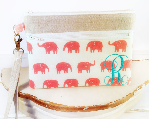 Cell Phone Wristlet ~ Zipper Pouch Clutch for iPhones, Samsung and all brands in Pink Elephants and Linen - Oh! Koey