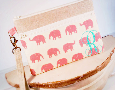 Cell Phone Zippler Wristlet ~ iPhone, Samsung Clutch in Pink Elephants & Linen - Oh! Koey