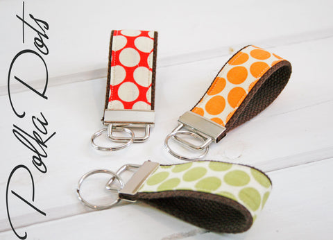 Polka Dot Shortie, mini key fob, Keychain, Polka Dot Key Ring, Key Chain, Red Dot Keyring - Oh! Koey