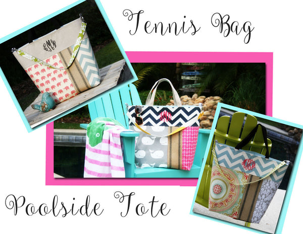 Monogrammed Elephants and Chevron Beach Tote, All Day Bag, Diaper Bag or Tennis Tote - Oh! Koey