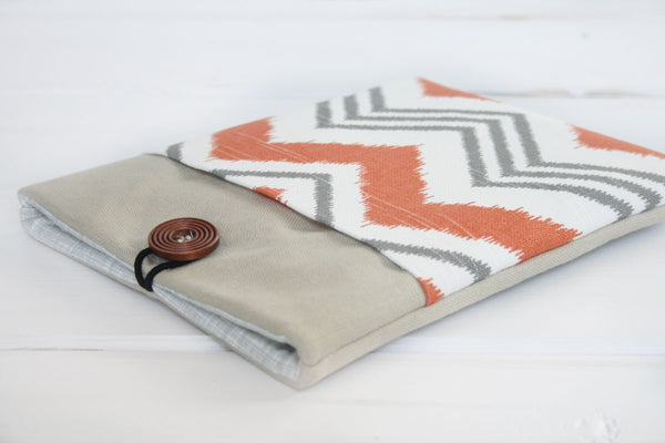Orange Sunset Chevron and Linen, Kindle & Ereader,  iPad & Tablet Case or Macbook & Laptop Case - Oh! Koey