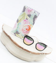 Tender Flower Grey Sunglass Case. Glass Sleeve, Monogrammed Cases for Over sized glasses, Sunglass sleeves