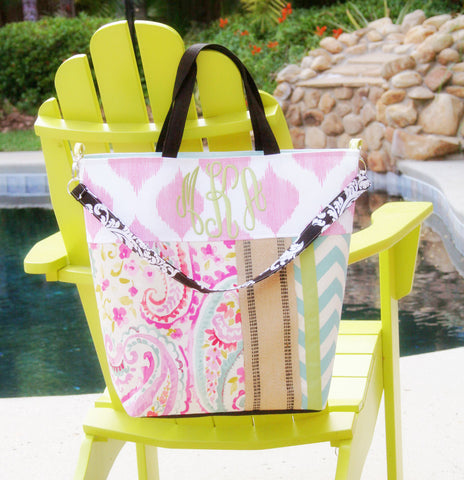 Monogrammed Raspberry Sorbet and Chevron Beach Tote, All Day Bag, Diaper Bag or Tennis Tote - Oh! Koey
