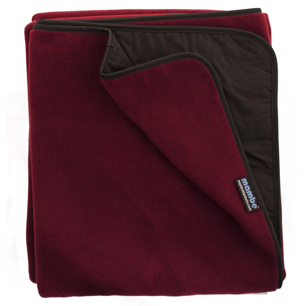 Burgundy Mambe Extreme Weather Outdoor Blanket for cold weather and stadium use.