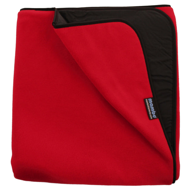 Red Mambe Extreme Weather Outdoor Blanket for cold weather and stadium use.
