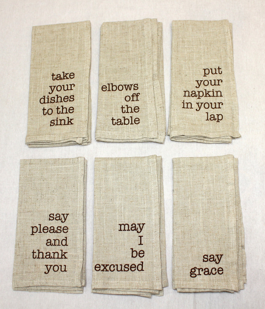 Mind your manners napkins- set of 6