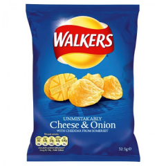 Walkers Cheese & Onion Crisps 32.5gms