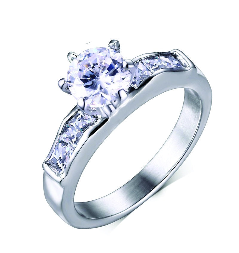 6mm CZ Solitaire Stainless Steel Ring