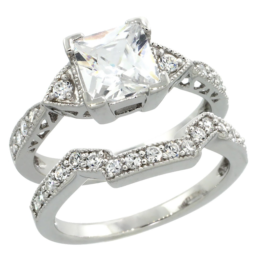 Square Engagement Ring Set 7mm