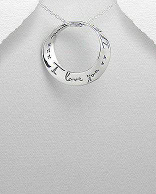 I Love You Circle Pendant
