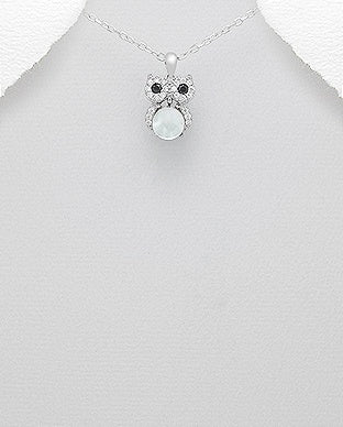 Mother of Pearl Owl CZ Necklace